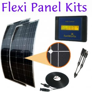 Kits with semi-flexible solar panels